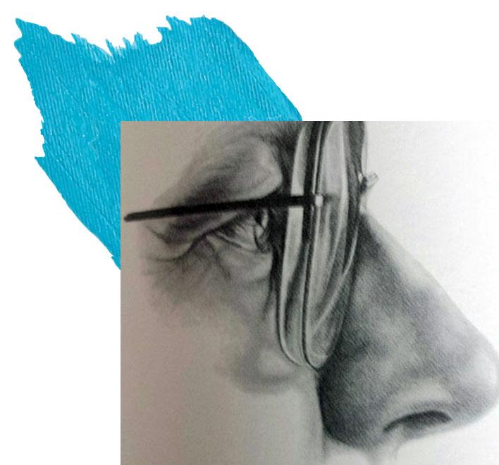 نیمرخ طراحی عینک با مداد