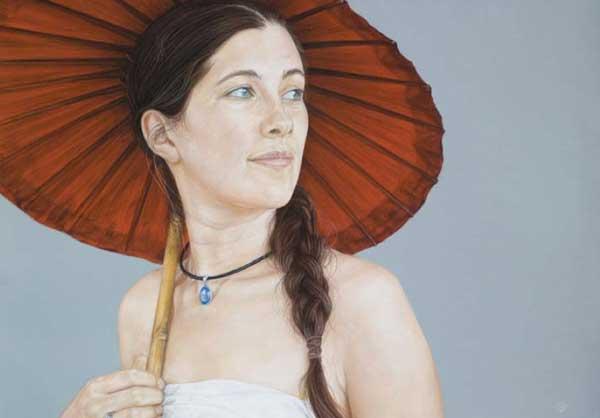نقاشی چهره با مداد رنگی