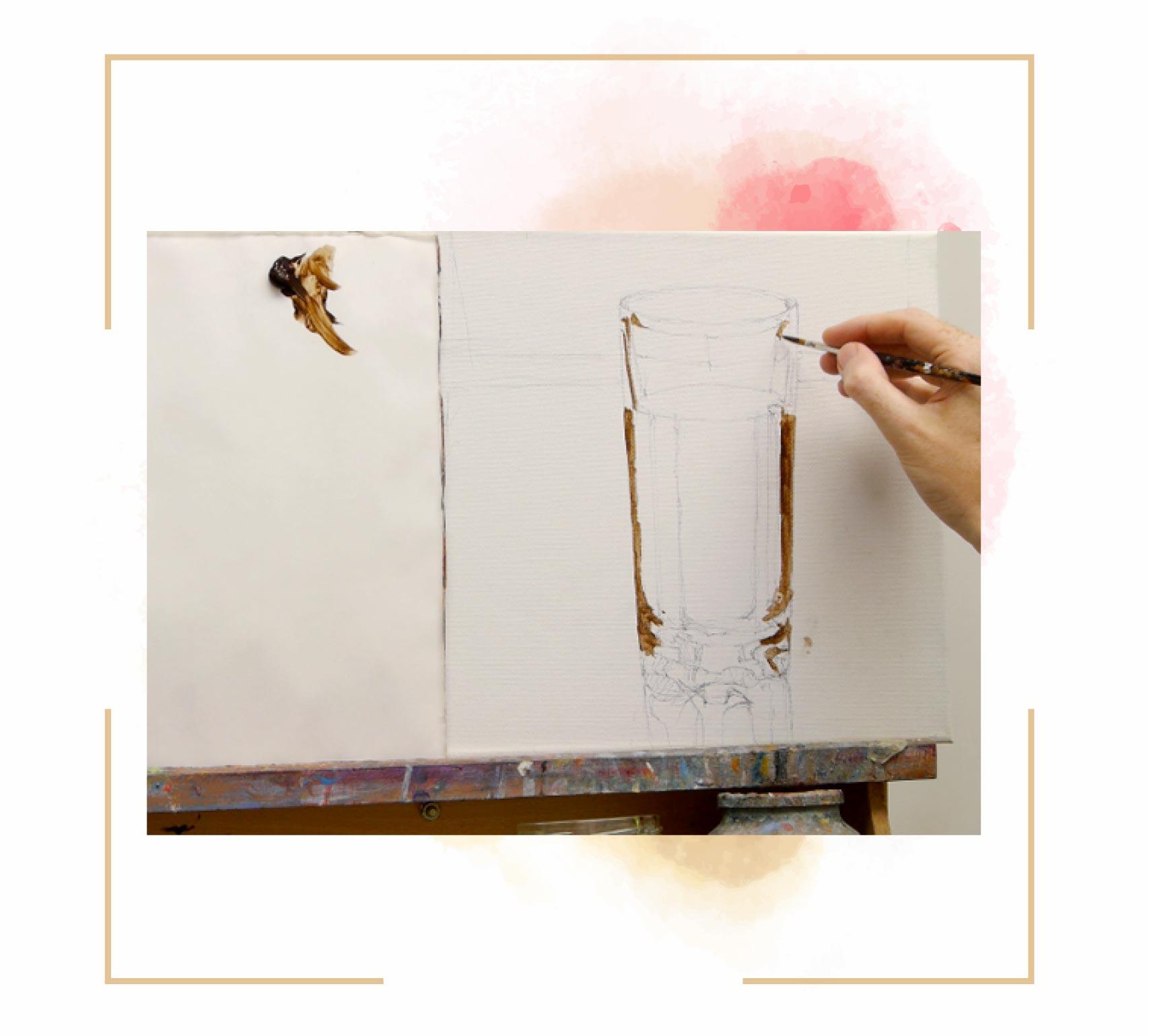 آموزش نقاشی لیوان تکنیک آبرنگ