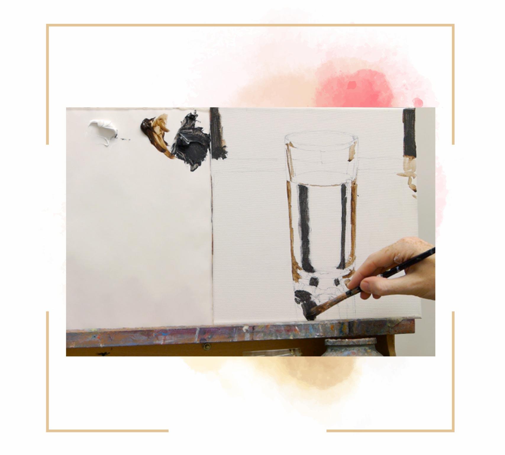 آموزش نقاشی لیوان با آبرنگ